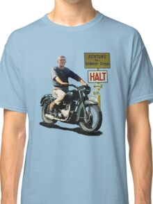 STEVE MCQUEEN GREAT ESCAPE HALT SIGN Classic T-Shirt