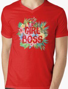 Girl Boss – Floral, Hawaiian Mens V-Neck T-Shirt