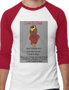 Owl Jolson  I love to Singa! Men's Baseball ¾ T-Shirt