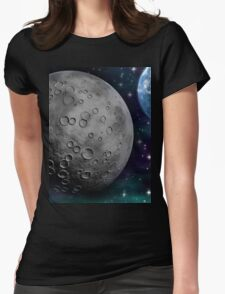 The Moon and Earth Womens Fitted T-Shirt