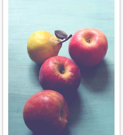 Apples and Pear on Blue Vintage Table Sticker