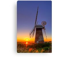 Sunset at Thurne mill Canvas Print