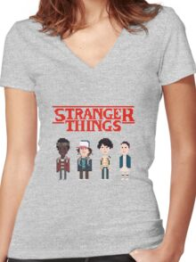 Stranger Things 8-Bit Women's Fitted V-Neck T-Shirt