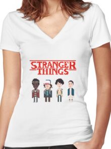 Stranger Things 8-Bit Women's Fitted V-Neck T-Shirt