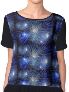 Bright Blue and White Fireworks Chiffon Top