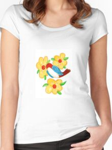 Blue Bird With Yellow Flowers Women's Fitted Scoop T-Shirt