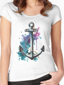 Nautical Watercolor Anchor Women's Fitted Scoop T-Shirt