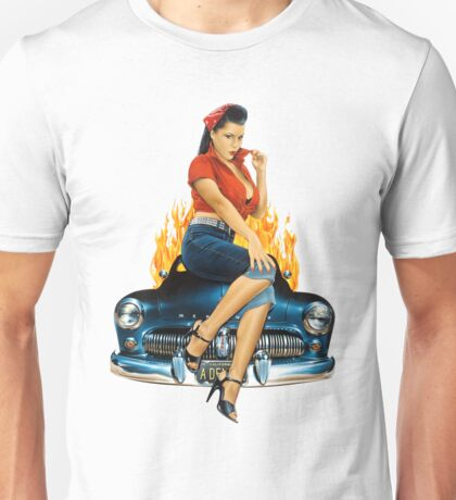Mercury Rising Pin Up Design Unisex T-Shirt