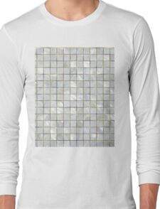 Natural Mother of Pearl Silver and Gold Tiled Mosaic Grid Long Sleeve T-Shirt