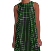 Matrix Optical Illusion Grid in Black and Neon Green Small A-Line Dress