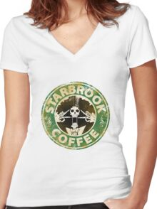Starbrook Coffee Grunge Women's Fitted V-Neck T-Shirt