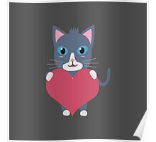Romantic cat with heart   Poster
