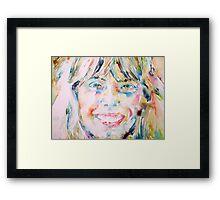 JONI MITCHELL - watercolor portrait Framed Print