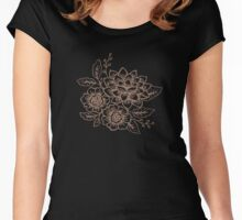 Hand Drawn Flower Women's Fitted Scoop T-Shirt