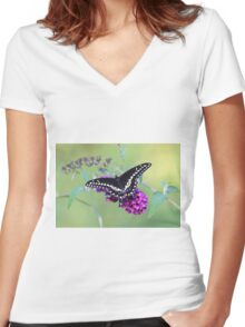 Black swallowtail Women's Fitted V-Neck T-Shirt