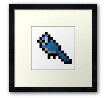 8-Bit Retro Bluejay Framed Print
