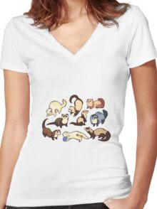 cat snakes in blue Women's Fitted V-Neck T-Shirt