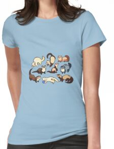 cat snakes in blue Womens Fitted T-Shirt