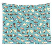 cat snakes in blue Wall Tapestry