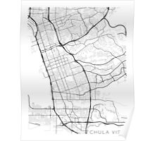 Chula Vista Map, USA - Black and White Poster
