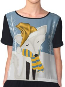 Winter Fox in Blue and Gold Chiffon Top