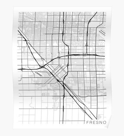 Fresno Map, USA - Black and White Poster