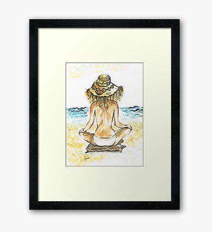 Beach Yoga Framed Print