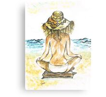 Beach Yoga Metal Print