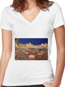 Mayor square, Salamanca Women's Fitted V-Neck T-Shirt