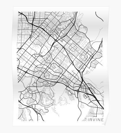 Irvine Map, USA - Black and White Poster