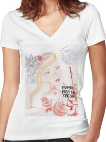 funky fruity fresh Women's Fitted V-Neck T-Shirt