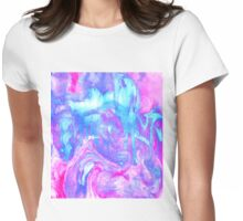 Melting Marble in Pink & Turquoise Womens Fitted T-Shirt