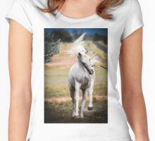 White Mane Flying Women's Fitted Scoop T-Shirt