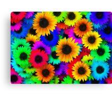 Bright Neon Sunflowers Canvas Print