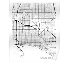 Long Beach Map, USA - Black and White Poster