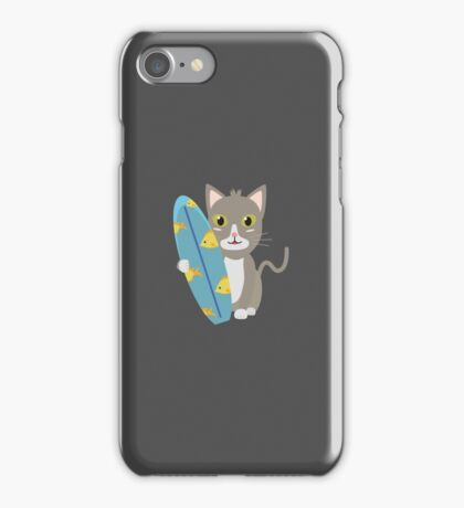 Cat with surfboard   iPhone Case/Skin