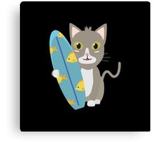 Cat with surfboard   Canvas Print