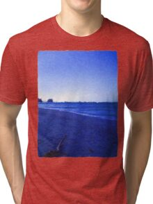 Driftwood on the Beach just before it gets Dark Tri-blend T-Shirt