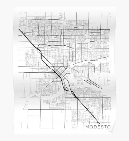Modesto Map, USA - Black and White Poster