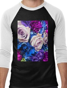 Rose Bouquet in Blues and Purples Men's Baseball ¾ T-Shirt