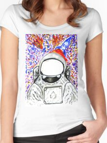 Cartoon Painted Astronaut Women's Fitted Scoop T-Shirt