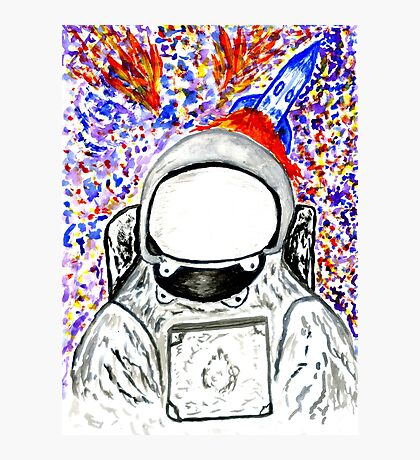 Cartoon Painted Astronaut Photographic Print