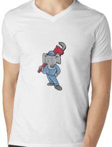Elephant Plumber Monkey Wrench Cartoon Mens V-Neck T-Shirt