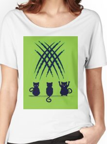 Black Cat Silhouette with Scratches 6 Women's Relaxed Fit T-Shirt
