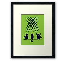 Black Cat Silhouette with Scratches 6 Framed Print