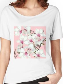 Orchid pattern on a pink background Women's Relaxed Fit T-Shirt