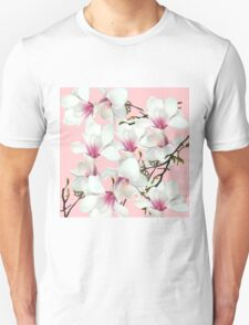 Orchid pattern on a pink background Unisex T-Shirt