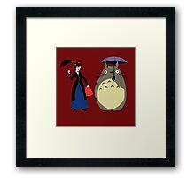 Mary Poppin and totoro umbrela Framed Print