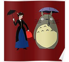 Mary Poppin and totoro umbrela Poster