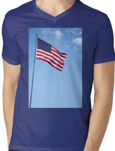 United states of America flag blowing in the wind with clouds and blue sky background Mens V-Neck T-Shirt
